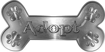 Dog Bone Animal Adoption with Paws Sticker Decal in Silver