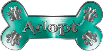 Dog Bone Animal Adoption with Paws Sticker Decal in Teal