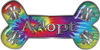 Dog Bone Animal Adoption with Paws Sticker Decal in Tie Dye Colors
