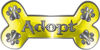 Dog Bone Animal Adoption with Paws Sticker Decal in Yellow