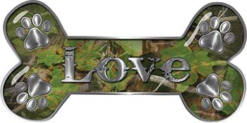 Dog Bone Animal Love with Paws Sticker Decal in Camouflage