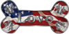 Dog Bone Animal Love with Paws Sticker Decal with American Flag