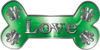 Dog Bone Animal Love with Paws Sticker Decal in Green