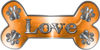 Dog Bone Animal Love with Paws Sticker Decal in Orange