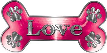 Dog Bone Animal Love with Paws Sticker Decal in Pink