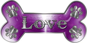 Dog Bone Animal Love with Paws Sticker Decal in Purple