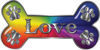 Dog Bone Animal Love with Paws Sticker Decal in Rainbow Colors