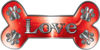 Dog Bone Animal Love with Paws Sticker Decal in Red