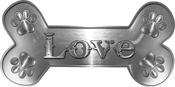 Dog Bone Animal Love with Paws Sticker Decal in Silver