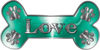 Dog Bone Animal Love with Paws Sticker Decal in Teal