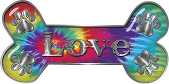 Dog Bone Animal Love with Paws Sticker Decal in Tie Dye Colors