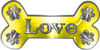 Dog Bone Animal Love with Paws Sticker Decal in Yellow