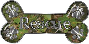 Dog Bone Animal Rescue Paws Sticker Decal in Camouflage