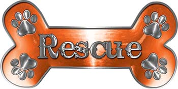 Dog Bone Animal Rescue Paws Sticker Decal in Orange
