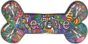 Dog Bone Animal Rescue Paws Sticker Decal with Psychedelic Art