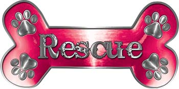 Dog Bone Animal Rescue Paws Sticker Decal in Pink