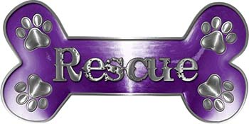 Dog Bone Animal Rescue Paws Sticker Decal in Purple