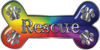 Dog Bone Animal Rescue Paws Sticker Decal in Rainbow Colors