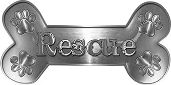 Dog Bone Animal Rescue Paws Sticker Decal in Silver
