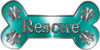 Dog Bone Animal Rescue Paws Sticker Decal in Teal