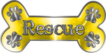 Dog Bone Animal Rescue Paws Sticker Decal in Yellow
