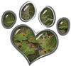 Dog Cat Animal Paw Heart Sticker Decal in Camouflage