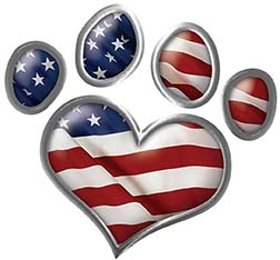 Dog Cat Animal Paw Heart Sticker Decal in American Flag