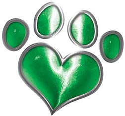 Dog Cat Animal Paw Heart Sticker Decal in Green