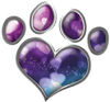 Dog Cat Animal Paw Heart Sticker Decal in Hearts