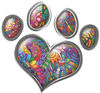 Dog Cat Animal Paw Heart Sticker Decal in Psychedelic Art