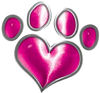 Dog Cat Animal Paw Heart Sticker Decal in Pink