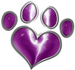 Dog Cat Animal Paw Heart Sticker Decal in Purple