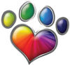 Dog Cat Animal Paw Heart Sticker Decal in Rainbow Colors