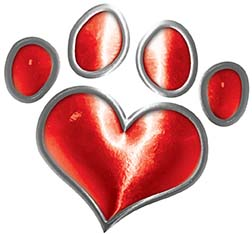 Dog Cat Animal Paw Heart Sticker Decal in Red