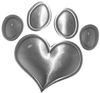 Dog Cat Animal Paw Heart Sticker Decal in Silver