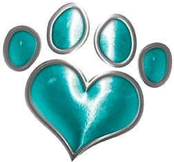 Dog Cat Animal Paw Heart Sticker Decal in Teal