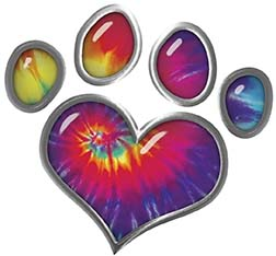 Dog Cat Animal Paw Heart Sticker Decal in Tie Dye Colors