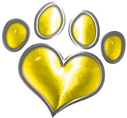 Dog Cat Animal Paw Heart Sticker Decal in Yellow