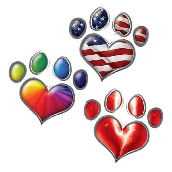 Heart Shaped Dog Paw Decals