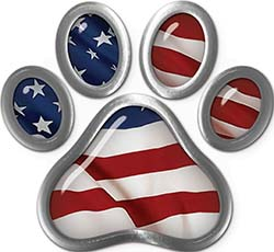 Dog Cat Animal Paw Sticker Decal with American Flag