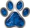 Dog Cat Animal Paw Sticker Decal in Blue Camouflage