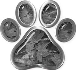Dog Cat Animal Paw Sticker Decal in Gray Camouflage