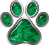 Dog Cat Animal Paw Sticker Decal in Green Camouflage