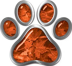 Dog Cat Animal Paw Sticker Decal in Orange Camouflage