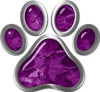 Dog Cat Animal Paw Sticker Decal in Purple Camouflage