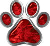 Dog Cat Animal Paw Sticker Decal in Red Camouflage