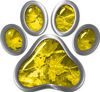Dog Cat Animal Paw Sticker Decal in Yellow Camouflage