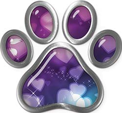 Dog Cat Animal Paw Sticker Decal in Hearts