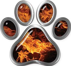 Dog Cat Animal Paw Sticker Decal in Inferno