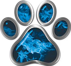 Dog Cat Animal Paw Sticker Decal in Blue Inferno